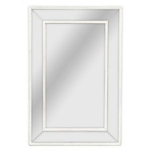 Antique White Mirrored Frame Mirror