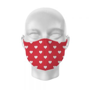 Red with White Hearts Reusable Face Covering Large