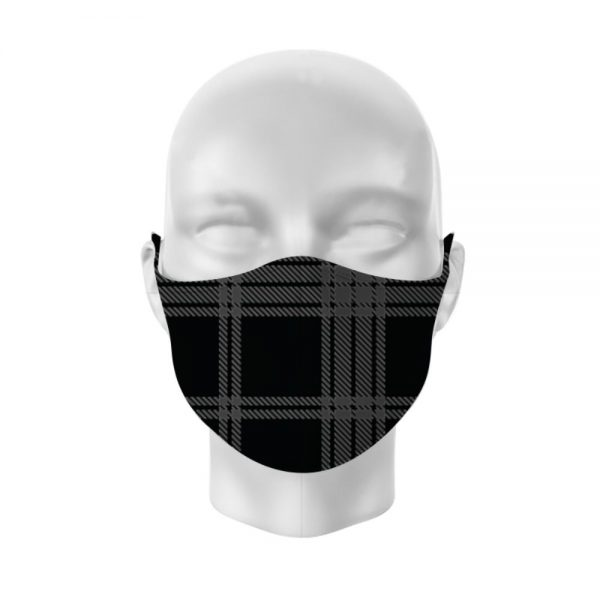 Black and Grey Tartan Reusable Face Covering Large