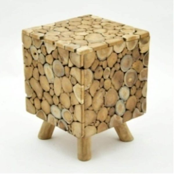 30X30X40cm Teak Branch Root Square Stool