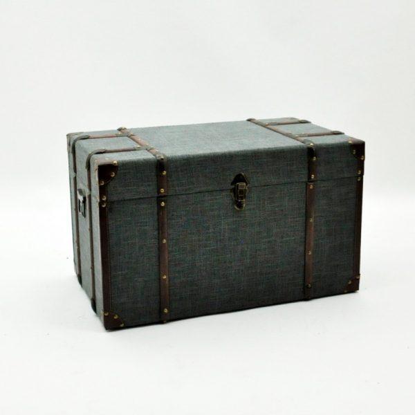 Dark Grey Linen Storage Chest Large