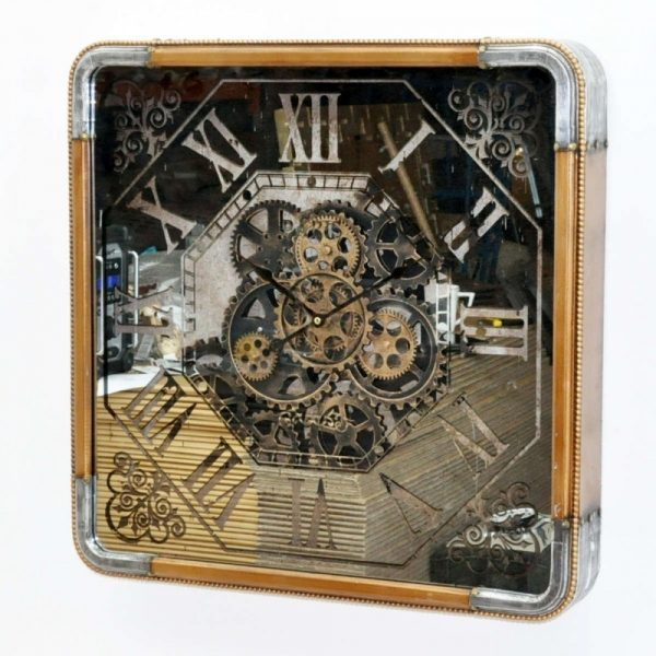 60cm Moving Gears Wall Clock Square