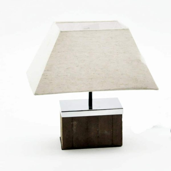 Wooden Base Lamp and Cream Shade H40cm