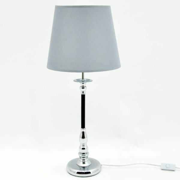 Silver Lamp 12inch Round Shade H66cm