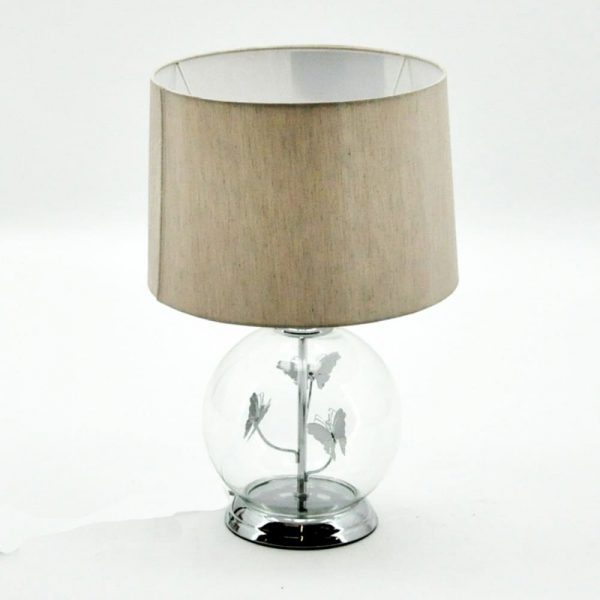 Glass With Silver Butterfly  Lamp and Shade