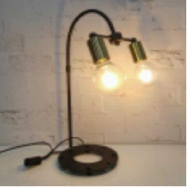 53cm Twin Light Metal Table Lamp