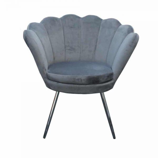 Shell Velvet Chair Grey