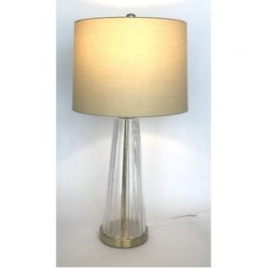 Bocconi Table Lamp Ribbed Conoidal Clear Glass H28