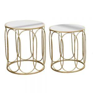 Grange Mirror Champagne Table set of 2