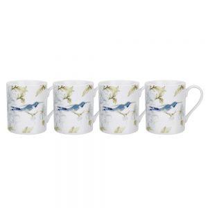 Royal Worcester Set of 4 Mugs Hummingbird Nectar