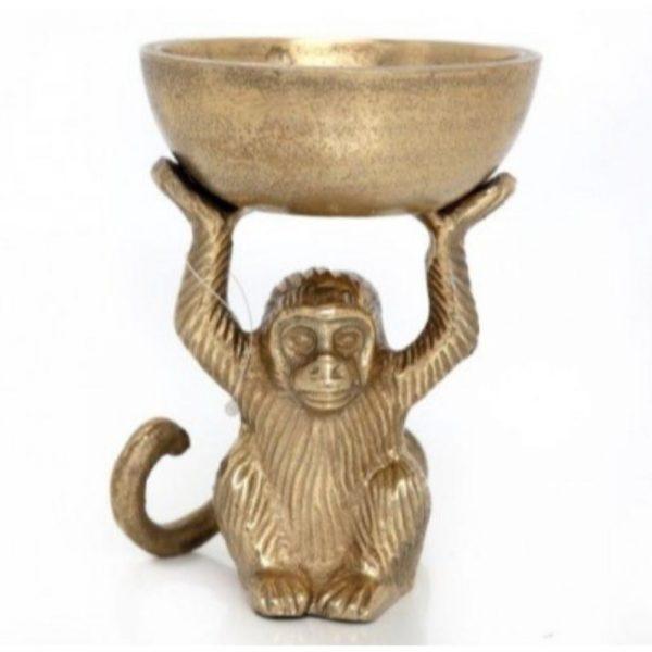 Monkey Bowl Gold Colour 14x10cm