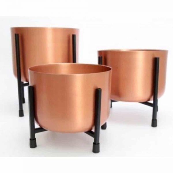 Copper Planter On Stand Medium 24.5x22.5cm