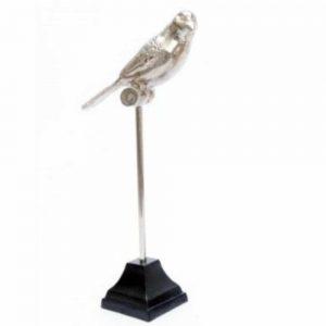 Silver Bird on Black Metal Base H30cm
