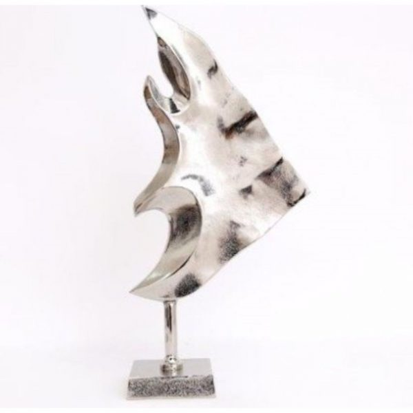 Silver Fish Decoration on Stand 50x23cm