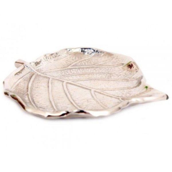 Leaf Silver Colour Trinket Dish 12x11cm