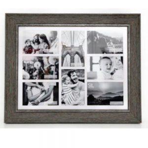 8x 4x6in Multi Wood Effect Frame Grey