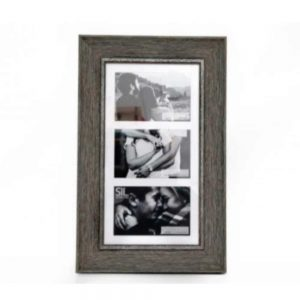 3x 4x6in Multi Wood Effect Frame Grey