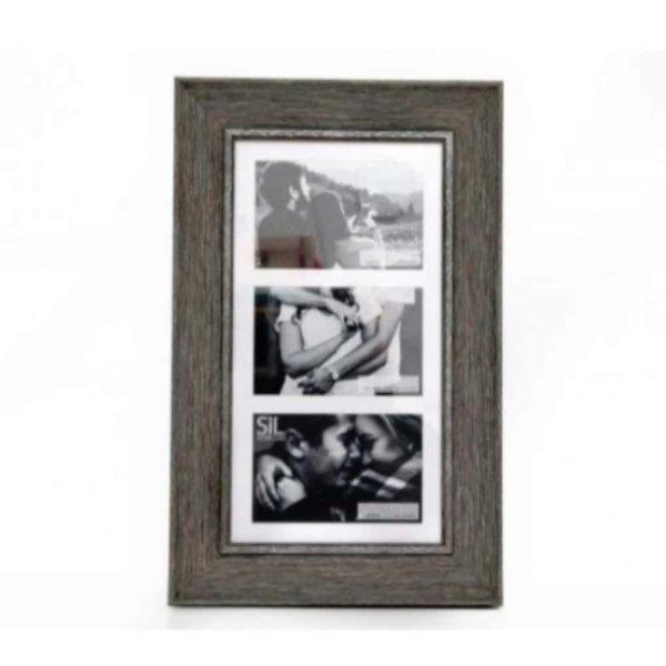 3x 4x6in Multi Wood Effect Frame Grey