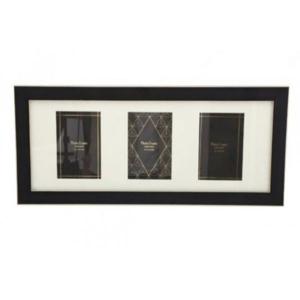 4X6 inch Black And Gold Colour Triple Frame
