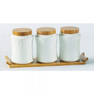 3Pc White Ceramic and Bamboo Canister Set 17x38cm
