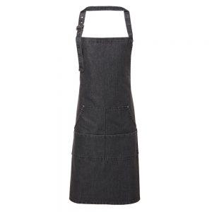 Jeans Stitch Black Denim Bib Apron