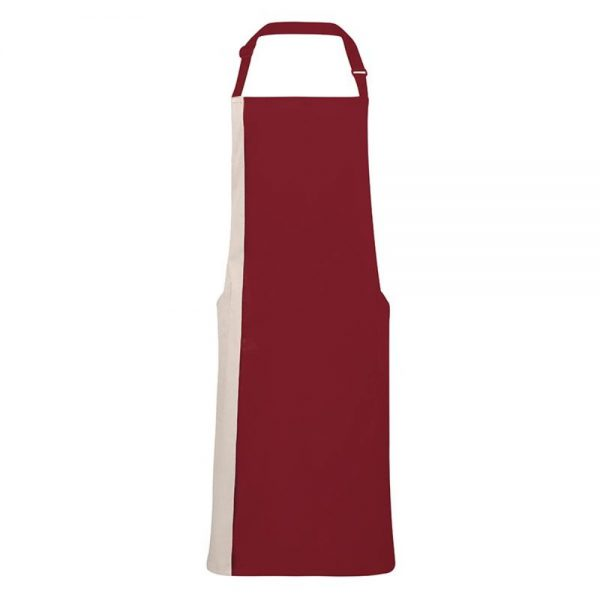 Burgundy/Natural Contrast Apron with Side Pockets