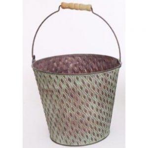 Green Metal Bucket Planter 21x19cm