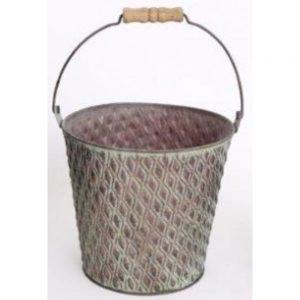 Green Metal Bucket Planter 18x16cm