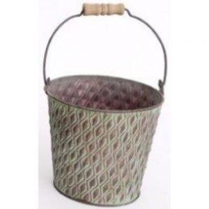 Green Metal Bucket Planter 14x13cm