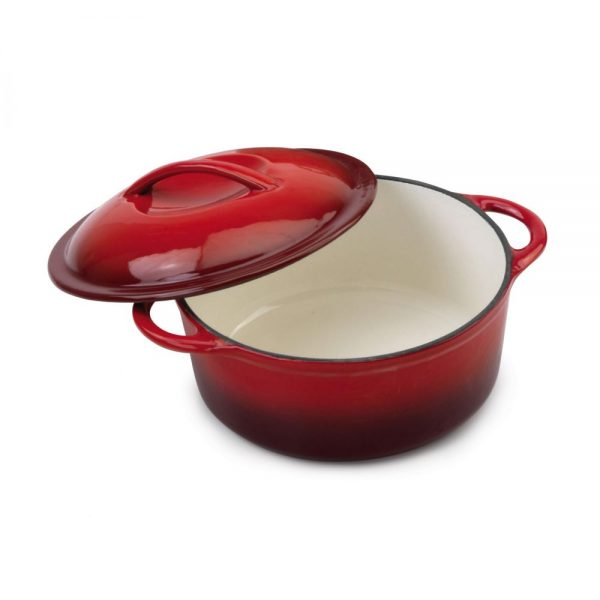 Cast Iron Round Casserole With Handle 22cm Red