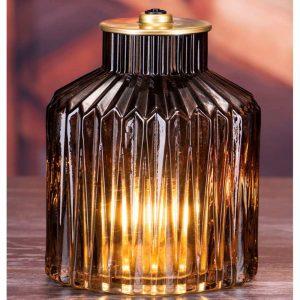 LED Brown Glass Lamp 16x12cm