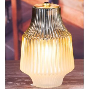 LED Glass Lamp Frosted Taupe 22x15cm