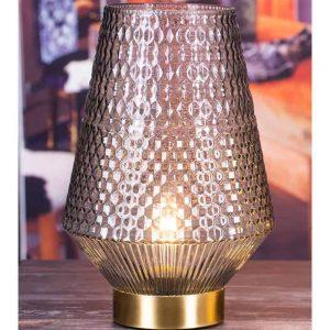Grey LED Glass Lantern Height 30cm