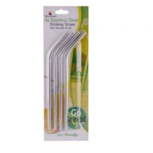 Grunwerg Stainless Steel Drinking Straws Set of 4