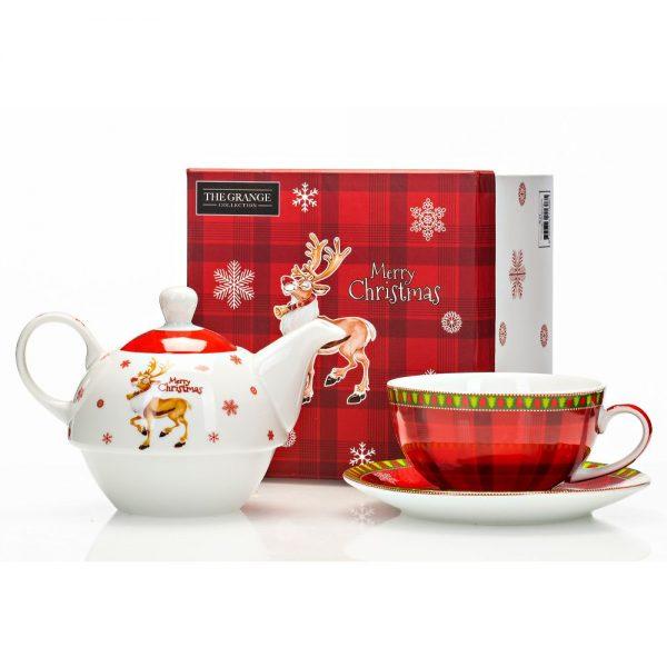 Porcelain Tea for One Reindeer Design