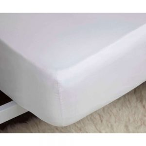 Brushed White Double Fitted Sheet