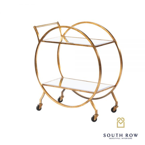 Harriet Circle Drinks Trolley Rect Antique Gold
