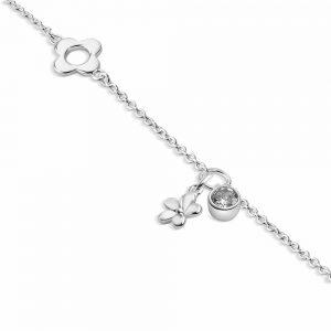 Flower Bracelet Clear Stone