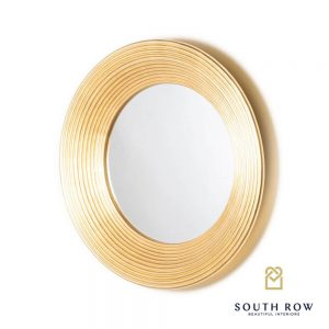Penzance Circle Ridged Mirror Vintage Gold 90cm