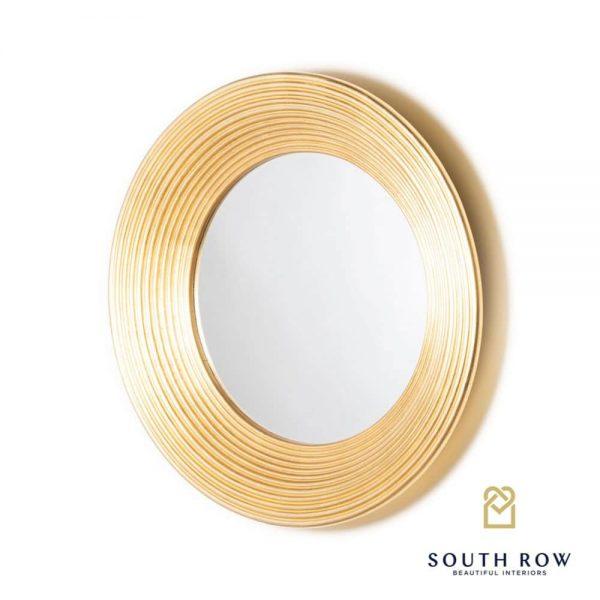 Penzance Circle Ridged Mirror Vintage Gold 90cm