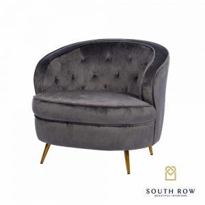 Zaria Velvet Armchair Charcoal Grey