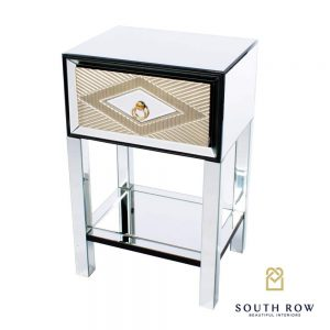 Gemini 1 Drawer Side Table Mirrored