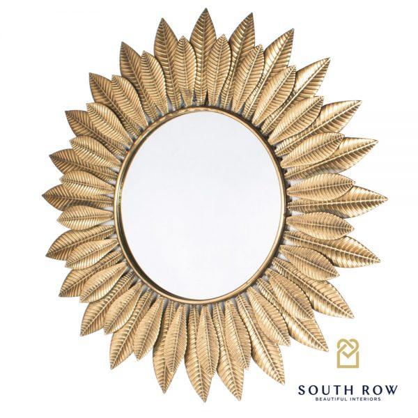 Azure Leaf Wall Mirror Gold 81cm