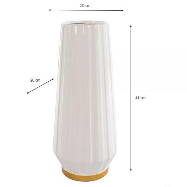 Milano Ceramic Vase Ivory/Gold 41cm
