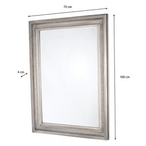 Bordeaux Wall Mirror Antique Silver 78 X 108cm