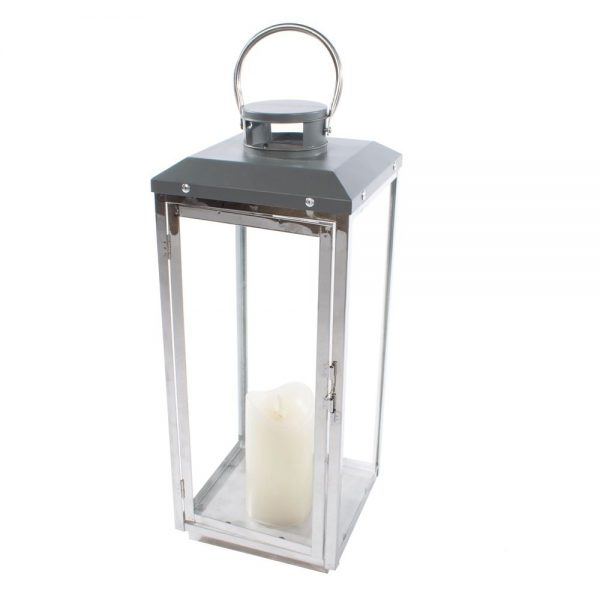 Sona Lantern Chrome & Grey Small Height 19cm
