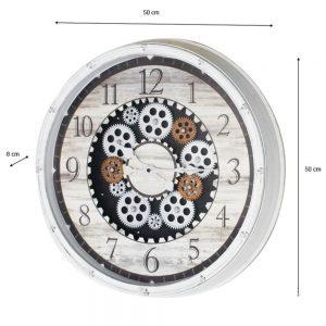 Clockworks Gears Clock Ant White 50cm