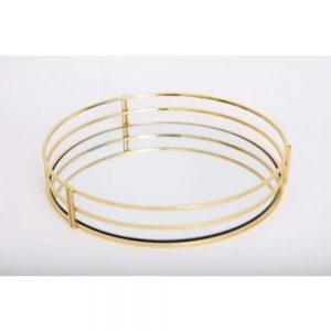Gold Round Mirrored Tray Dia 30cm