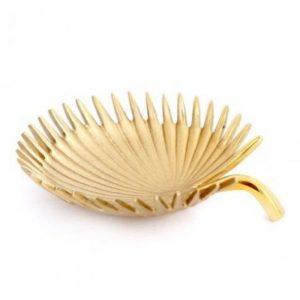 Gold Colour Leaf Metal Bowl 14x12cm