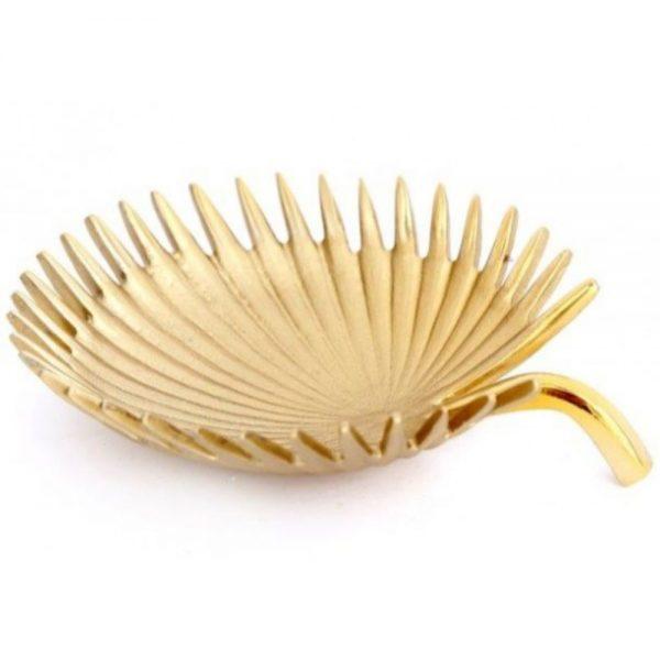 Gold Colour Leaf Metal Bowl 32x30cm
